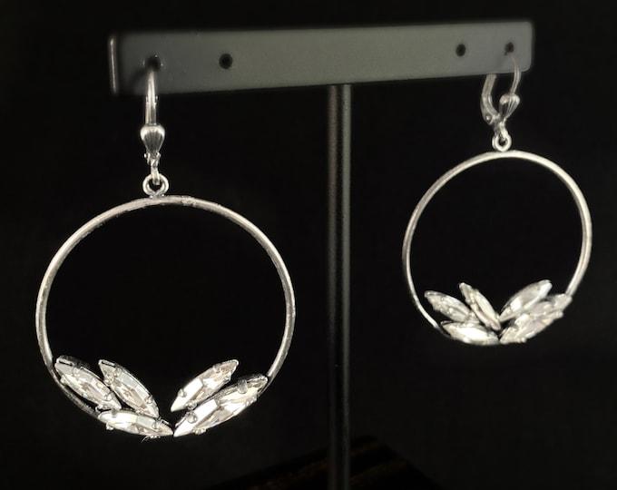 Marquise Cut Swarovski Crystal Earrings, Clear - La Vie Parisienne by Catherine Popesco