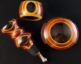 3 Piece Wooden Wine Bottle Stopper, Foil Cutter, and Drip Catcher Set - Wine Gift Set