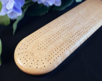 Handmade Wooden Cribbage Board with Pegs - Birdseye Maple