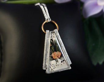 Silver Triangle Abstract Floral Pendant Necklace - Handmade in Canada, Anne-Marie Chagnon Jewelry