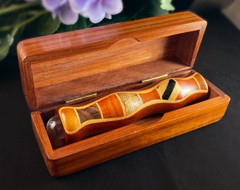 Handmade Wooden Teleidoscope with Box, Padauk Marquetry