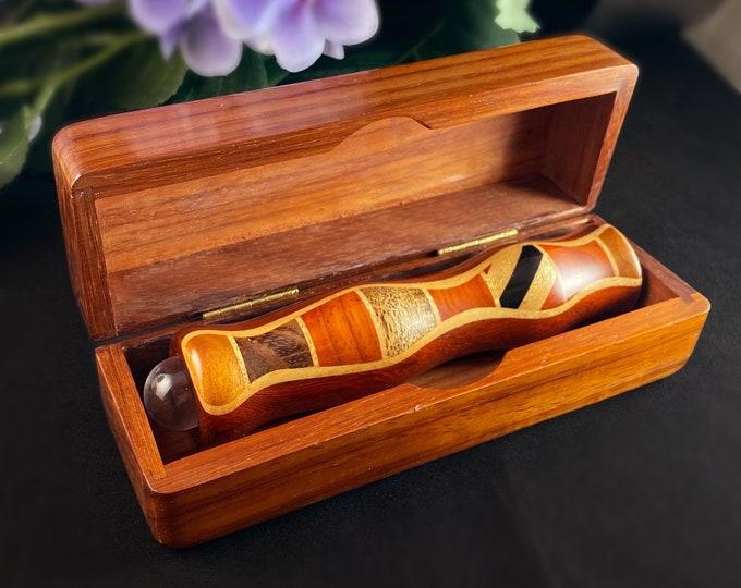 Handmade Wooden Teleidoscope with Box, Padauk Marquetry