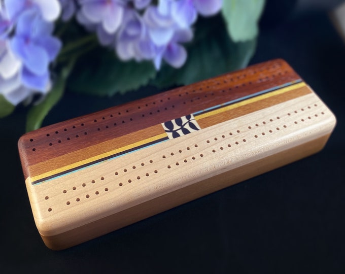 Handmade Wooden Cribbage Board with Cards and Pegs, Vine Leaf Marquetry - Cherry, Maple, Bubinga