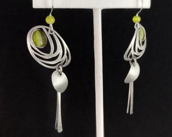 Lightweight Handmade Geometric Aluminum Earrings, Silver and Green