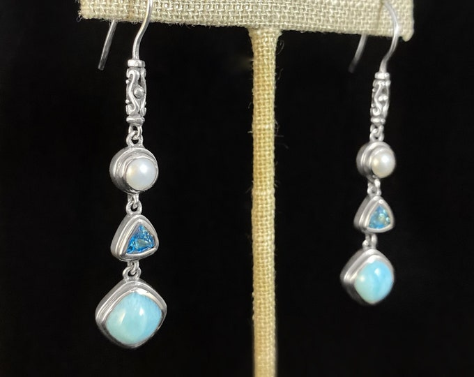 Marahlago Larimar and Sterling Silver Azure Earrings