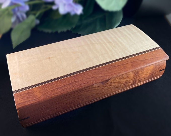 Featured listing image: Large Handmade Wooden Treasure Box with Curly Maple, Bubinga, and Wenge, Made in USA