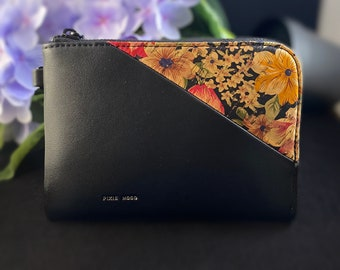 Pixie Mood Stacy Wristlet - Black Faux Vegan Leather, Floral Cork, Recycled Materials