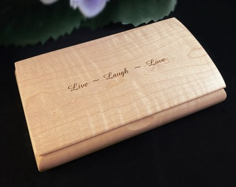 Live Laugh Love Quote Box from Mikutowski Woodworking Handmade Wooden Box with Curly Maple