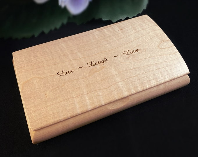 Live Laugh Love Quote Box, Handmade Wooden Box with Curly Maple, Made in USA