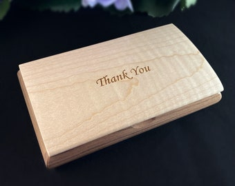 Thank You Quote Box, Handmade Wooden Box with Curly Maple and Walnut, made in USA