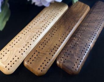Handmade Wooden Cribbage Board with Pegs - Walnut, Birdseye Maple