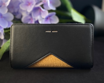 Pixie Mood Sophie Wallet - Black Faux Vegan Leather, Cork, Recycled Materials