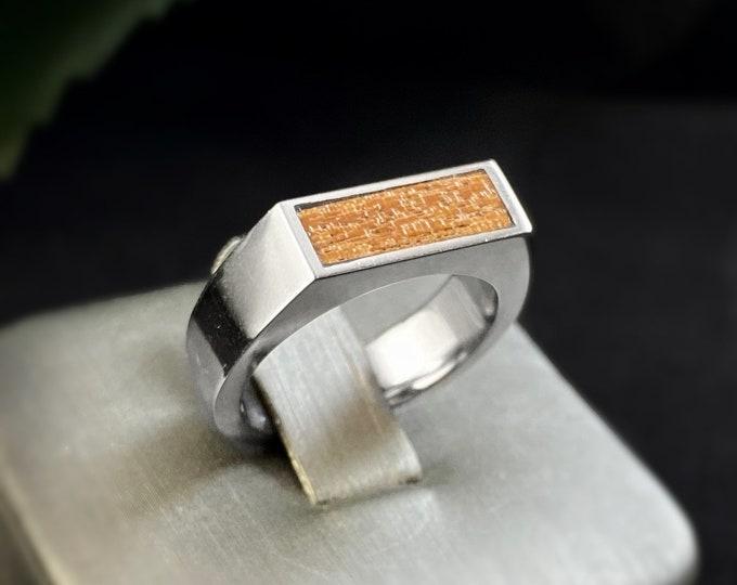 Men's Stainless Steel Ring with Koa Wood