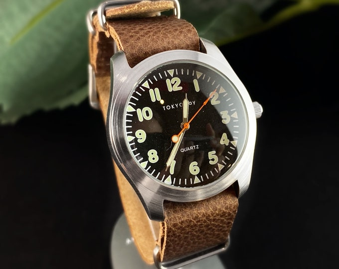 Men's Watch, Brown Leather Band, Dark Face - TOKYObay