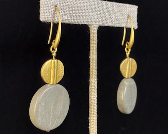 Gold Circle Art Deco Style Drop Earrings  - 18kt Gold Over Brass with Agate, David Aubrey Jewelry