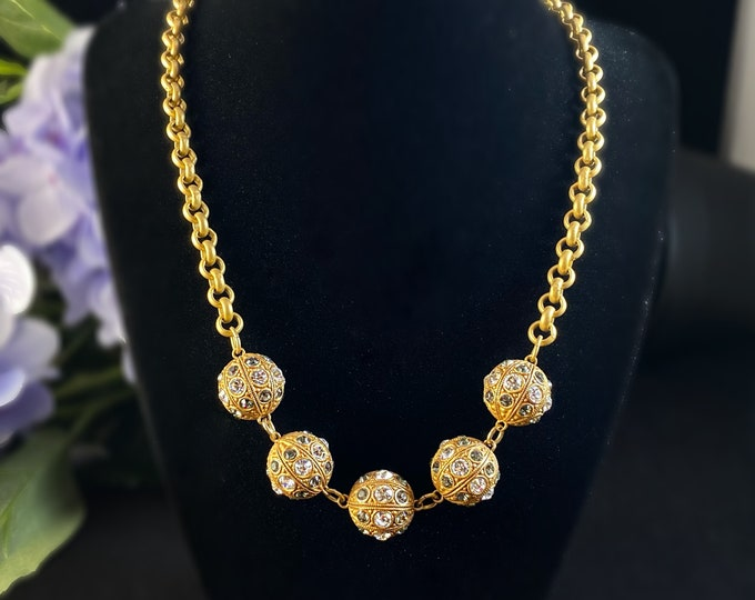 Chunky Gold Bauble Statement Necklace with Swarovski Crystals - La Vie Parisienne by Catherine Popesco