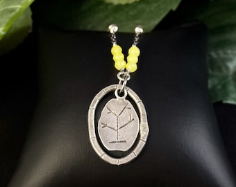 J and I Handmade Etched Oval Pendant Necklace with Yellow Beads