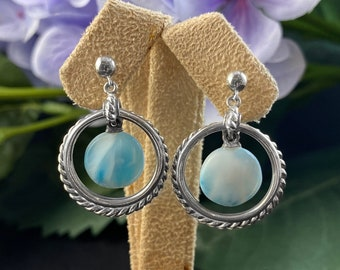 Marahlago Larimar and Sterling Silver Ciro Earrings