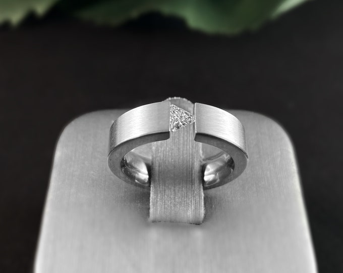 Stainless Steel Tension Set Ring, Trilliant Cut - B. Tiff New York