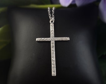 La Vie Parisienne by Catherine Popesco - Silver Cross Necklace with Swarovski crystals