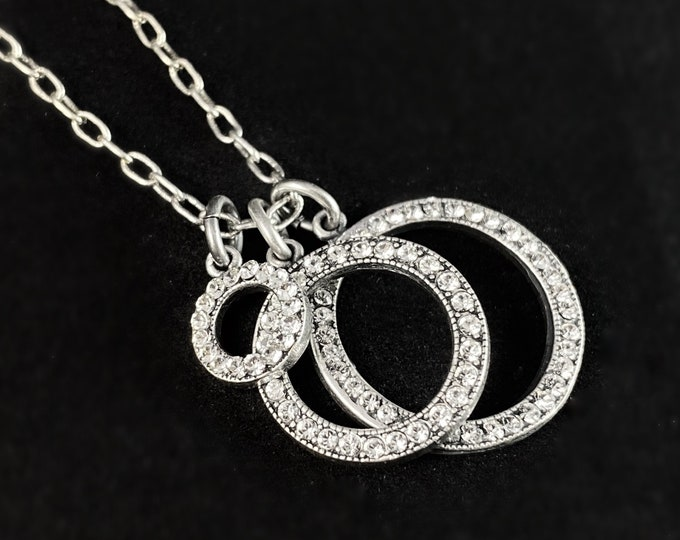 Silver Circle Swarovski Crystal Pendant Necklace - La Vie Parisienne by Catherine Popesco