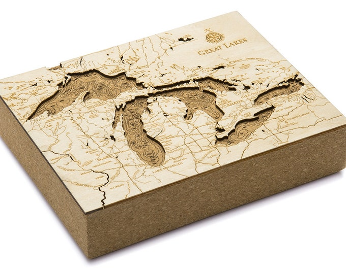 Cork Map of the Great Lakes - Unique Home/Office Decor