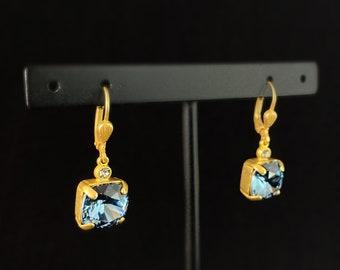 Blue Square Cut Swarovski Crystal Drop Earrings - La Vie Parisienne by Catherine Popesco