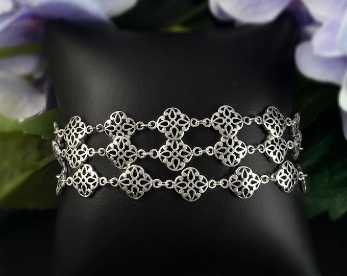 Silver Multi Strand Bracelet - La Vie Parisienne by Catherine Popesco
