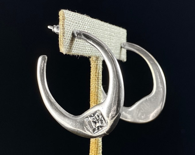 Chunky Silver Hoop Earrings with Czech Crystal - Handmade Nickel Free Ulla Jewelry