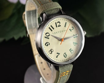 Women's Watch, Skinny Green Leather Band, Silver Case - TOKYObay