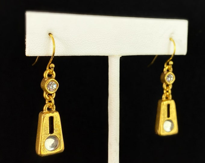 Handmade Gold Drop Earrings with Crystals, Made in USA