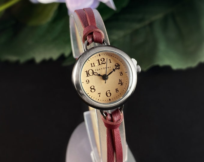 Women's Watch, Skinny Red Leather Band, Silver Case - TOKYObay