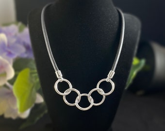 Silver Chunky Chain Necklace with Black Leather Cord - Handmade Nickel Free Ulla Jewelry