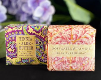 Shea Butter Soap, Made in USA - Rosewater Jasmine, Zinnia Aloe Butter