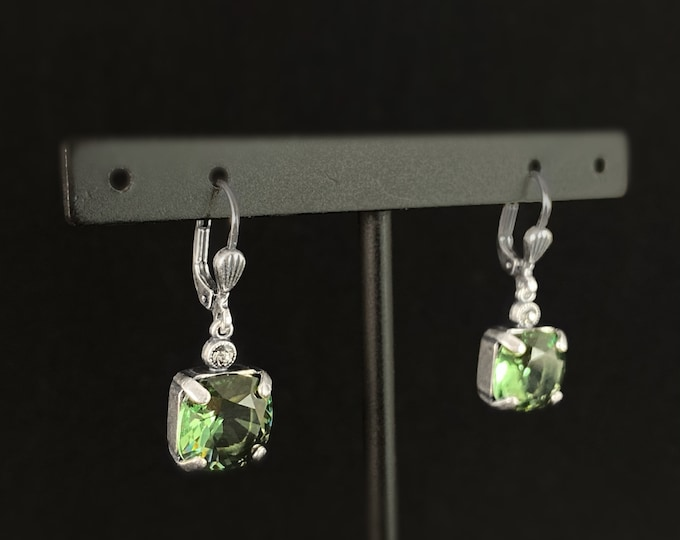 Green Square Cut Swarovski Crystal Drop Earrings - La Vie Parisienne by Catherine Popesco