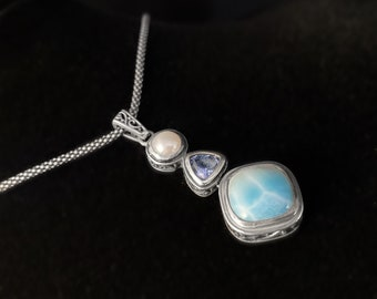 Marahlago Larimar and Sterling Silver Azure Necklace