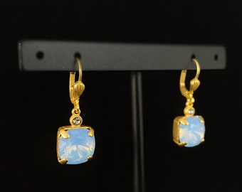 Blue Opal Square Cut Swarovski Crystal Drop Earrings - La Vie Parisienne by Catherine Popesco