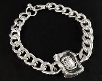 Silver Link Bracelet with Clear Crystal, Handmade