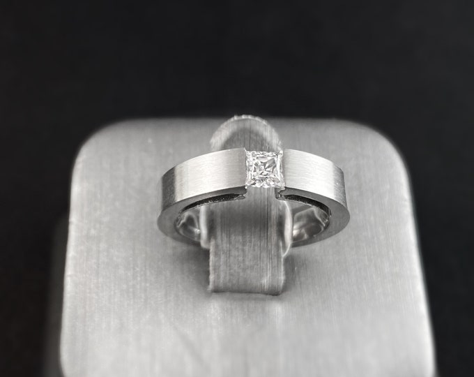 Stainless Steel Tension Set Ring, Square Cut - B. Tiff New York