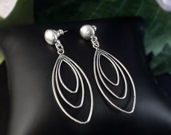 Silver Oval Delicate Post Earrings - Handmade Nickel Free Ulla Jewelry