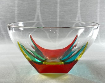 Venetian Glass Bowl - Handmade in Italy, Colorful Murano Glass Dish