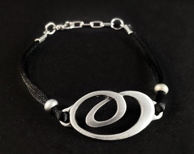 Silver Bracelet with Black Cord, Handmade Nickel Free