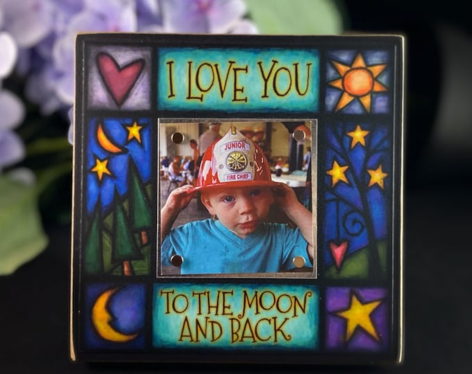 Featured listing image: Colorful Magnetic Picture Frame - Handmade in USA - I Love You To The Moon and Back
