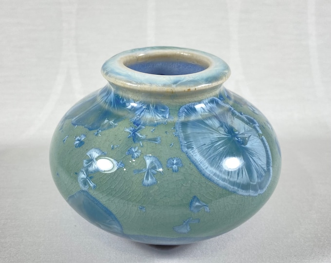 Tiny Green Handmade Vase - Handcrafted in the USA, Bill Campbell Pottery
