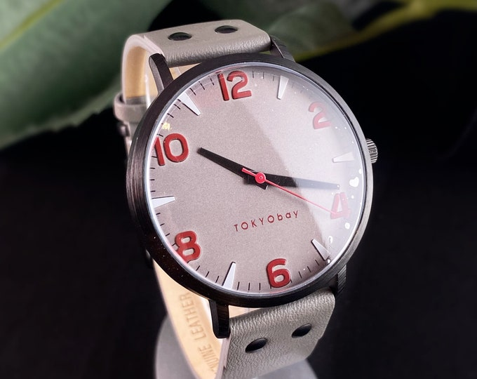 Men's Watch, Gray Leather Band, Red Accent Numerals - TOKYObay