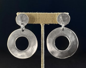 Chunky Silver Round Drop Earrings - Handmade Nickel Free Ulla Jewelry