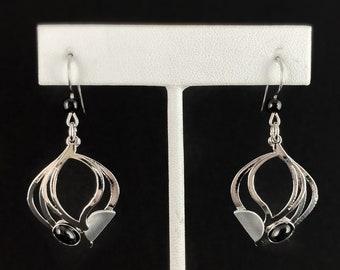 Lightweight Handmade Geometric Aluminum Earrings, Silver and Black