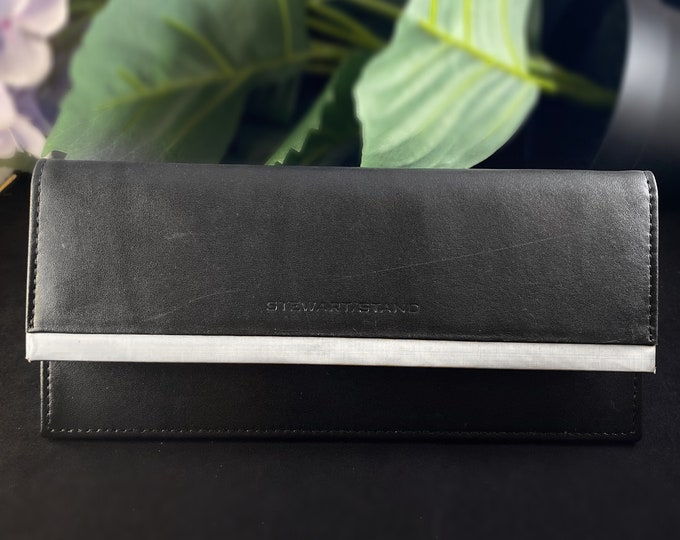 Stewart Stand Leather and Stainless Steel RFID Protection Long Slimline Clutch Wallet