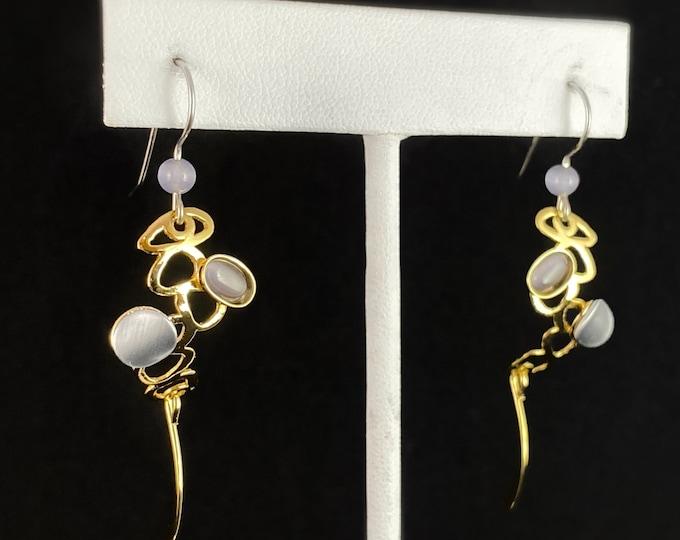 Lightweight Handmade Geometric Aluminum Earrings, Gold and Purple