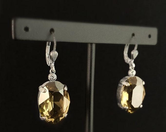 Oval Cut Swarovski Crystal Drop Earrings, Champagne - La Vie Parisienne by Catherine Popesco